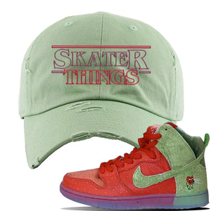 SB Dunk High 'Strawberry Cough' Distressed Dad Hat | Sage Green, Skater Things