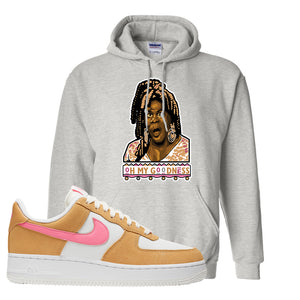 Nike Air Force 1 Pink Orange Hoodie | Oh My Goodness, Ash