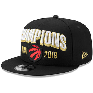 Men's Toronto Raptors New Era Black 2019 NBA Finals On Court Champions Locker Room 9FIFTY Snapback Hat
