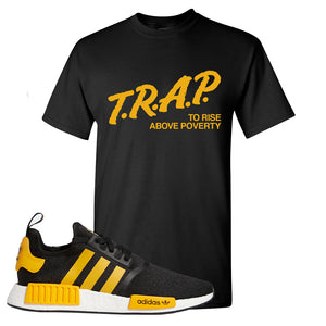 NMD R1 Active Gold T Shirt | Black, Trap To Rise Above Poverty