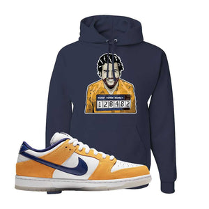 SB Dunk Low Laser Orange Hoodie | Navy, Escobar Illustration