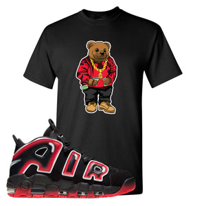 Air More Uptempo Laser Crimson Biggie Bear Black Sneaker Hook Up Men's T-Shirt