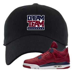 Air Jordan 4 FIBA Stars and Stripes Eagle Black Sneaker Matching Dad Hat