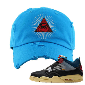Union LA x Air Jordan 4 Off Noir Distressed Dad Hat | All Seeing Eye, Blue Aqua