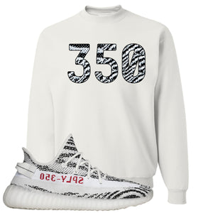 Yeezy Boost 350 V2 Zebra 350 White Sneaker Hook Up Crewneck Sweatshirt