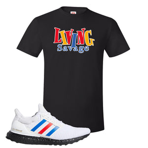 Ultra Boost White Red Blue T Shirt | Black, Living Savage