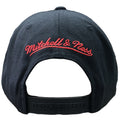 the back of the Portland Trail blazers snapback hat has the Mitchell and Ness logo embroidered in red