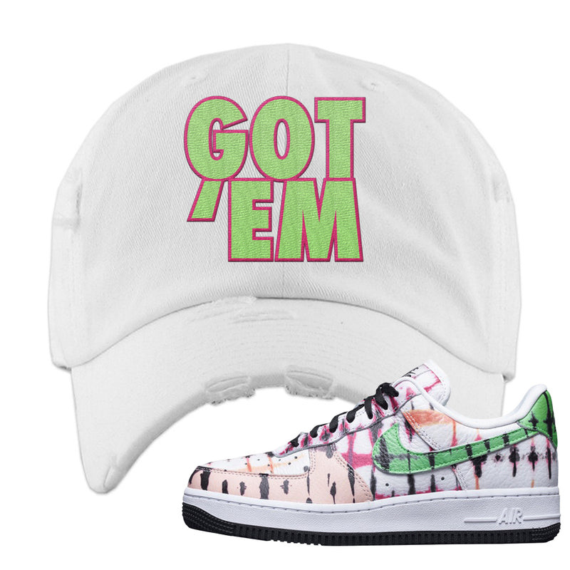 Air Force 1 Low Multi-Colored Tie-Dye Distressed Dad Hat | White, Got Em