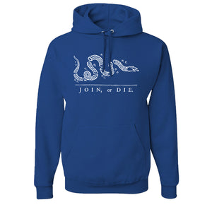 Join Or Die Pullover Hoodie | Join Or Die Royal Blue Pull Over Hoodie the front of this hoodie has the join or die design