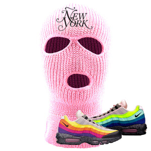 Airmax 95 '20 For 20' Sneaker Light Pink Ski Mask | Winter Mask to match Nike Airmax 95 '20 For 20' Shoes | Ñew York