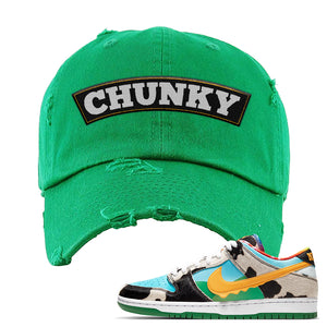 SB Dunk Low 'Chunky Dunky' Distressed Dad Hat | Kelly, Chunky