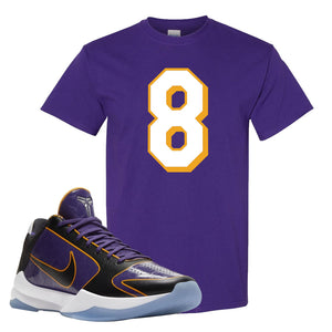 Kobe 5 Protro 5x Champ T Shirt | Number 8, Deep Purple