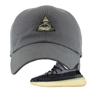 Yeezy Boost 350 V2 Asriel Carbon Dad Hat | All Seeing Eye, Dark Gray