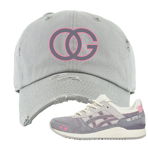END x Asics Gel-Lyte III Grey And Pink Distressed Dad Hat | OG, Light Gray