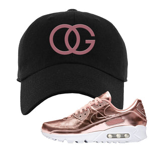 Air Max 90 WMNS 'Medal Pack' Rose Gold Sneaker Black Dad Hat | Hat to match Nike Air Max 90 WMNS 'Medal Pack' Rose Gold Shoes | OG