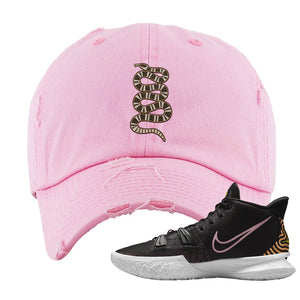 Kyrie 7 Ripple Black Distressed Dad Hat | Coiled Snake, Light Pink