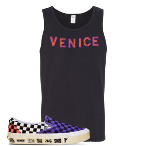Vans Slip On Venice Beach Pack Tank Top | Black, Venice Sign