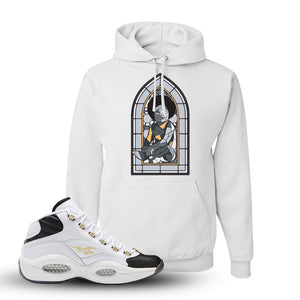 Question Mid Black Toe Sneaker White Pullover Hoodie | Hoodie to match Reebok Question Mid Black Toe Shoes | Baby Mosaic