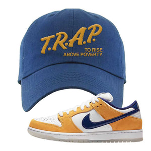 SB Dunk Low Laser Orange Dad Hat | Navy, Trap To Rise Above Poverty
