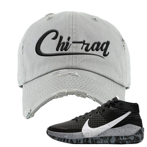 KD 13 Oreo Distressed Dad Hat | Chiraq, Light Gray