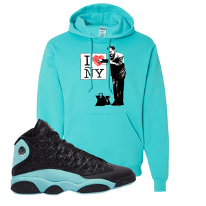 I Heart ÑY Doctor Scuba Blue Pullover Hoodie To Match Jordan 13 Island Green Sneakers