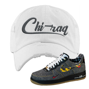 Air Force 1 Low Plaid And Camo Remix Pack Distressed Dad Hat | Chiraq, White