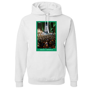 Superbowl Parade Score Board T-Shirt | Superbowl Score Board White T-Shirt the front of this hoodie has the eagles superbowl parade scoreboard on it