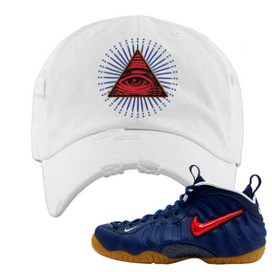 Air Foamposite Pro USA Distressed Dad Hat | White, All Seeing Eye