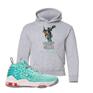 Lebron 17 South Beach Kids Pullover Hoodie | Dont Hate the Playa, Sport Grey