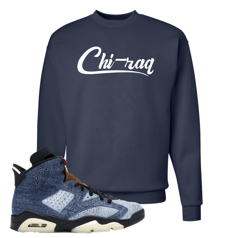 Jordan 6 Washed Denim Crewneck Sweatshirt | Navy Blue, Chiraq