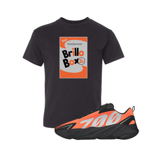Brillo Box Black Kid's T-Shirt to match Yeezy Boost 700 MNVN Orange Sneaker
