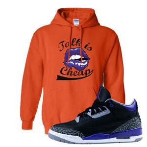 Air Jordan 3 Court Purple Hoodie | Talk Is Cheap, Orange