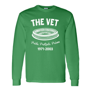 The Vet Pride, Pretzels, Prison Long Sleeve T-Shirt | Veterans Stadium Kelly Green Longsleeve Tee Shirt the front of this long sleeve has the vet stadium