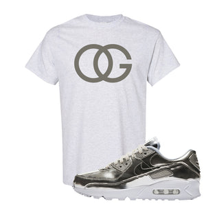 Air Max 90 WMNS 'Medal Pack' Chrome Sneaker Ash T Shirt | Tees to match Nike Air Max 90 WMNS 'Medal Pack' Chrome Shoes | OG