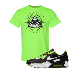 Air Max 90 Exeter Edition Black T Shirt | All Seeing Eye, Neon Green