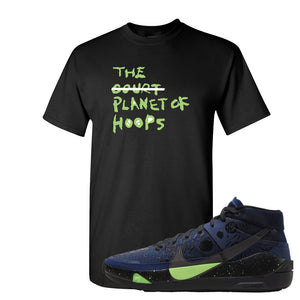 KD 13 Planet of Hoops T Shirt | Planet Of Hoops Lettering, Black