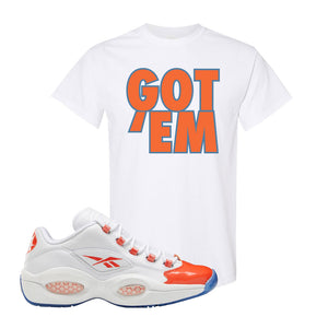 Question Low Vivid Orange T-Shirt | Got Em, White