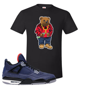 Jordan 4 WNTR Loyal Blue Sweater Bear Black Sneaker Hook Up T-Shirt