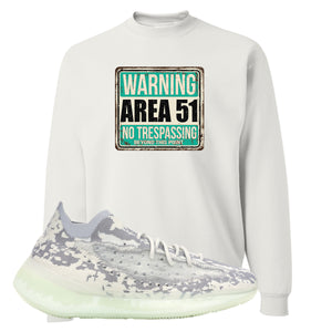 Yeezy 380 Alien Crewneck Sweatshirt | White, Area 51 Sign