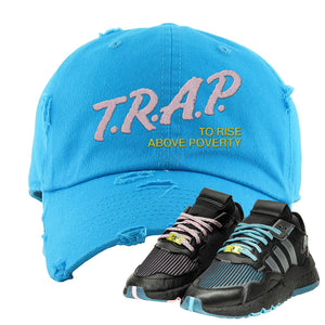 Ninja x adidas Nite Jogger Distressed Dad Hat | Trap To Rise Above Poverty, Blue Aqua