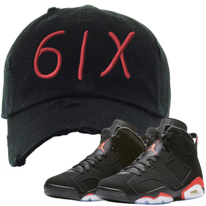 The Jordan 6 Infrared Distressed Dad Hat is custom designed to perfectly match the retro Jordan 6 Infrared sneakers from Nike.