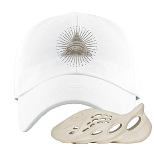Yeezy Foam Runner Sand Dad Hat | All Seeing Eye, White