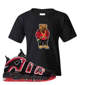 Air More Uptempo Laser Crimson Biggie Bear Black Sneaker Hook Up Kid's T-Shirt