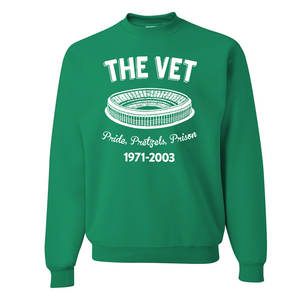 The Vet Pride, Pretzels, Prison Crewneck | Veterans Stadium Kelly Green Crewneck Sweatshirt the front of this crewneck has the vet stadium