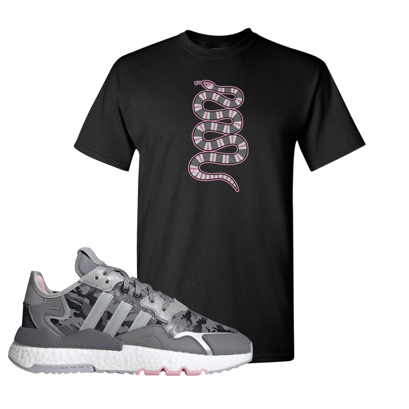 WMNS Nite Jogger True Pink Camo T Shirt | Black, Coiled Snake