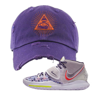 Kyrie 6 Asia Irving Distressed Dad Hat | All Seeing Eye, Purple