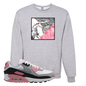 WMNS Air Max 90 Rose Pink Marble Mosaic Ash Crewneck Sweatshirt To Match Sneakers