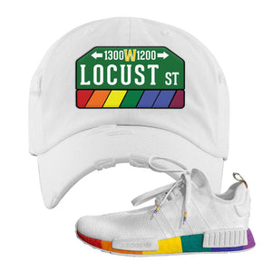 NMD R1 Pride Distressed Dad Hat | White, Locust Street Sign