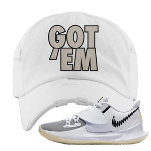 Kyrie Low 3 Distressed Dad Hat | White, Got Em