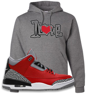 Jordan 3 Red Cement Hoodie | Oxford, 1 Love